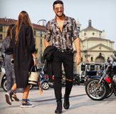 MILAN, Italy: September 19, 2018 Man streetstyle outfit. Fashionable man streetstyle outfit before ALBERTA FERRETTIi fashion show during milano fashion week fall stock photo