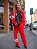 MILAN, Italy: 19 september 2018: Model streetstyle outfit after BYBLOS fashion show. Model streetstyle outfit after BYBLOS fashion show during Milan fashion week stock images