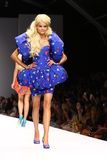 MILAN, ITALY - SEPTEMBER 18: A model walks the runway during the Moschino show Royalty Free Stock Photos