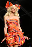 MILAN, ITALY - SEPTEMBER 18: A model walks the runway during the Moschino show Royalty Free Stock Image