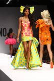 MILAN, ITALY - SEPTEMBER 18: A model walks the runway during the Moschino show Royalty Free Stock Photography