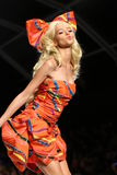 MILAN, ITALY - SEPTEMBER 18: A model walks the runway during the Moschino show Royalty Free Stock Photo