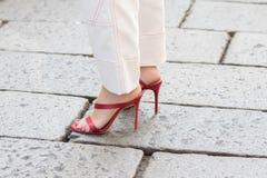 Milan woman fashion week 2018 royalty free stock images