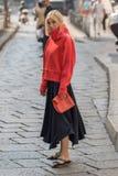 Milan woman fashion week 2018 royalty free stock photos