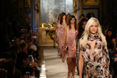 MILAN, ITALY - SEPTEMBER 20: Models walk the runway finale during the Genny show royalty free stock photos