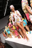 MILAN, ITALY - SEPTEMBER 18: Models walk the runway finale during the Moschino show Royalty Free Stock Photo