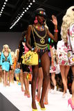 MILAN, ITALY - SEPTEMBER 18: Models walk the runway finale during the Moschino show Stock Images