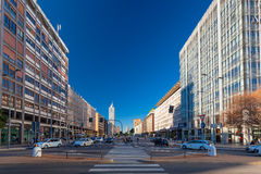 MILAN, ITALY - September 07, 2016: Morning in business part of city Milan located on the Vittor Pisani Street Stock Images
