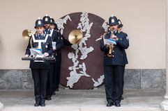 Music band of local police in milano Royalty Free Stock Images
