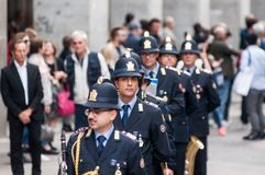 Music band of local police in milano Royalty Free Stock Photos