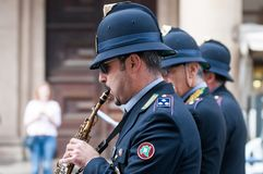 Music band of local police in milano Stock Photos
