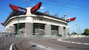 MILAN, ITALY - SEPTEMBER 13, 2017: Stadio Giuseppe Meazza commonly known as San Siro, is a football stadium in the San Siro distri Royalty Free Stock Photo