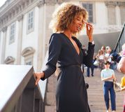 MILAN, Italy: September, 20 2018: Streetstyle outfits. Streetstyle outfits in Duomo square after GENNY fashion show during Milan fashion week fall/winter 2018/ royalty free stock image