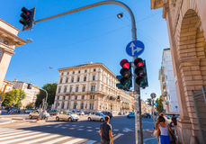 MILAN, ITALY - September 06, 2016: Traffic light shows the red light on the crossroad on Avenue Buenos Aires Corso Buenos Aires Royalty Free Stock Image