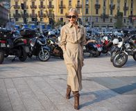 MILAN, Italy: September 19, 2018 Woman streetstyle outfit. Caroline Daur streetstyle outfit before ALBERTA FERRETTIi fashion show during milano fashion week fall royalty free stock photos