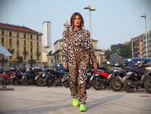 MILAN, Italy: September 19, 2018 Woman streetstyle outfit. Woman streetstyle outfit before ALBERTA FERRETTIi fashion show during milano fashion week fall/winter royalty free stock photos