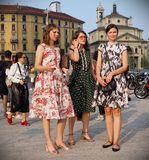 MILAN, Italy: September 19, 2018 Women streetstyle outfit. Women streetstyle outfit before ALBERTA FERRETTIi fashion show during milano fashion week fall/winter stock photos
