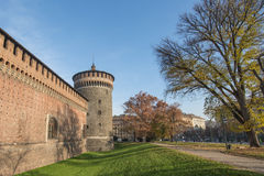 Milan, Italy - Sforzesco castle tower and wall - December 2015 Stock Images