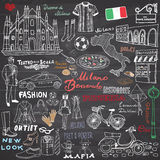 Milan Italy sketch elements. Hand drawn set with Duomo cathedral, flag, map, shoe, fashion items, pizza, shopping street, transpor Stock Photo