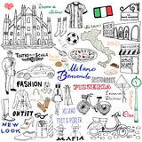 Milan Italy skissar beståndsdelar Hand dragen uppsättning med Duomodomkyrkan, flagga, översikt, sko, modeobjekt, pizza som shoppa