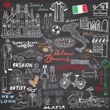 Milan Italy-Skizzenelemente Hand gezeichneter Satz mit Duomokathedrale, Flagge, Karte, Schuh, Modeeinzelteile, Pizza, Einkaufsstr Stockfoto
