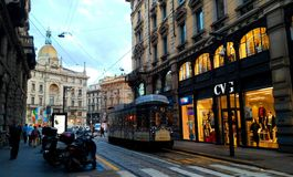 Milan Italy street. October 15, 2015: The landscape of street and beautiful city with the tram in Milan, Italy Stock Photos