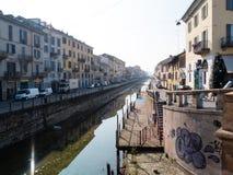 MILAN-ITALY-03 12 2014, strefa Navigli kanał wodny passe Obraz Stock
