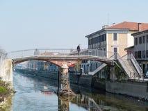 MILAN-ITALY-03 12 2014, strefa Navigli kanał wodny passe Obrazy Stock