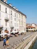 MILAN-ITALY-03 12 2014, strefa Navigli kanał wodny passe Fotografia Stock