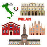 Milan Italy Travel Doodle with Architecture, Map and Flag Royalty Free Stock Images
