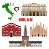 Milan Italy Travel Doodle avec l'architecture, la carte et le drapeau Images libres de droits