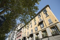 Milan Italy: typical old residential building Stock Photos