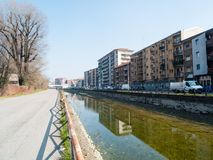 MILAN-ITALY-03 12 2014, zona del canale di Navigli di acqua passe Fotografie Stock