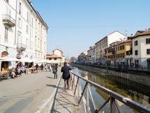 MILAN-ITALY-03 12 2014, Zone des Navigli-Kanals des Wassers passe Stockfotos
