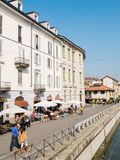 MILAN-ITALY-03 12 2014, Zone des Navigli-Kanals des Wassers passe Stockfotografie