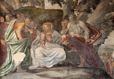 Milan - Jesus and apostle. Fresco from  Saint Simpliciano church Stock Photos