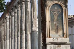 Milan - Jesus and column by San Lorenzo Royalty Free Stock Photo