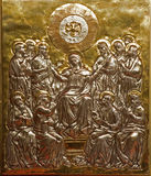 Milan - little gold relief of Pentecost Royalty Free Stock Photos