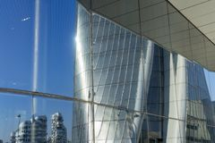 Hadid tower at Citylife, Milan. Milan, Lombardy, Italy: the Hadid tower at Citylife reflected Royalty Free Stock Photos