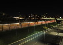 Milan Lombardy, Italy: modern bridges in the new Portello area. Milan Lombardy, Italy: modern square,office buildings and lights in the new Portello area Royalty Free Stock Photos
