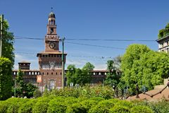 Sforza Castle in Milan. The tower above the main entrance.  In t. Milan, Lombardy, Italy, 04/27/2019. Sforza Castle in Milan. The tower above the main entrance royalty free stock photography