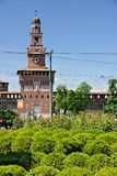 Sforza Castle in Milan. The tower above the main entrance.  In t. Milan, Lombardy, Italy, 04/27/2019. Sforza Castle in Milan. The tower above the main entrance royalty free stock photo