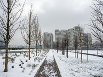 Snowing in Citylife, Milan. Milan, Lombardy, Italy: snow in late winter March at Citylife, residential buildings Royalty Free Stock Image