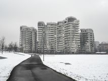 Snowing in Citylife, Milan. Milan, Lombardy, Italy: snow in late winter March at Citylife, residential buildings Stock Photography