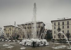 Milan, Lombardy, Italy, Statues and fountain in Giulio Cesare square, near the new Citylife area. Milan, Lombardy, Italy, Statues and fountain in Giulio Cesare Royalty Free Stock Images