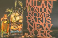 Milan-London-Rome-Paris-New York vase with stones royalty free stock images