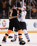 Milan Lucic fights Colton Orr Stock Photos