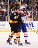 Milan Lucic and P.K. Subban collide. Royalty Free Stock Photos