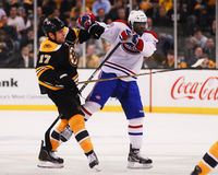 Milan Lucic and P.K. Subban collide. Stock Image