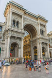 Milan Luxuous shopping mall. Evening shot of the hall of the landmark arcade or covered mall, Galleria Vittorio Emanuele II in Milan, Italy Stock Photography